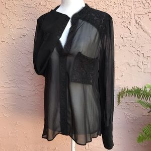 BCBG Maxazria Sheer Lace Long Sleeve Blouse Tunic